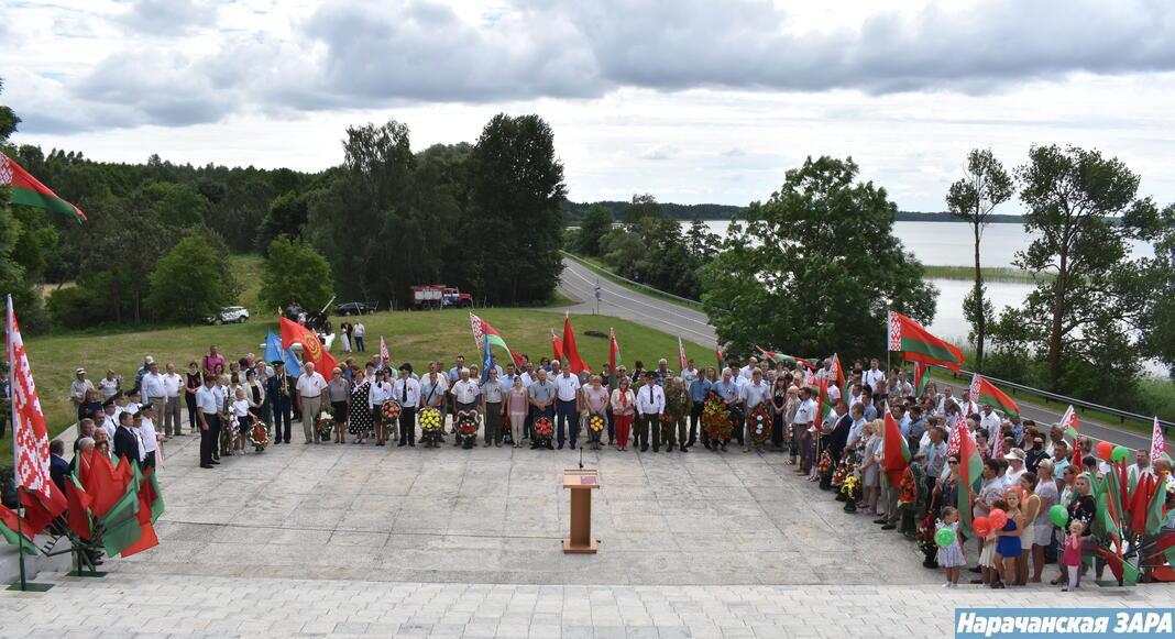 У памятника партизанам и партизанкам земли нарочанской прошел праздничный митинг (фото, видео)